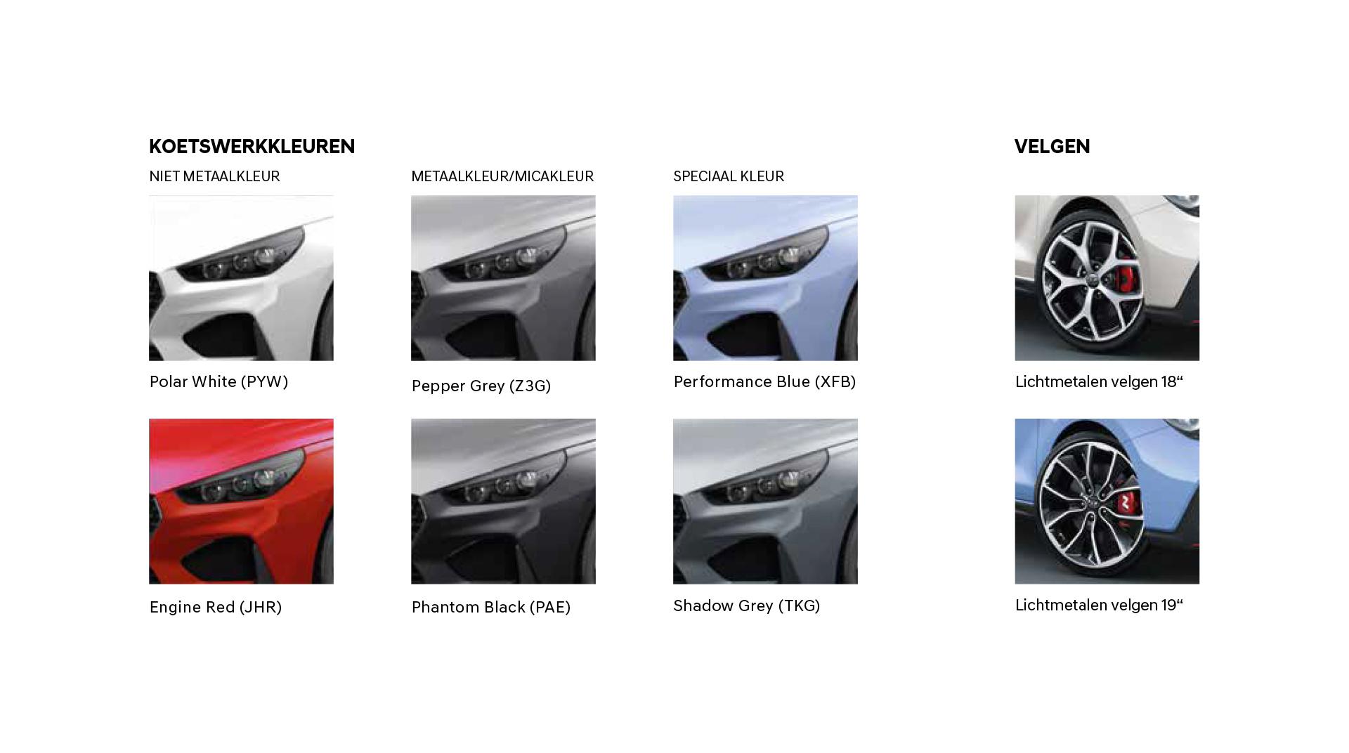 Kleuren Hyundai i30 N